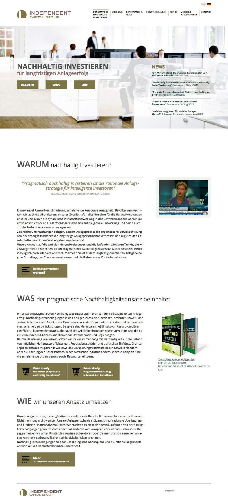 Webdesign für Independent Capital Group AG Zürich
