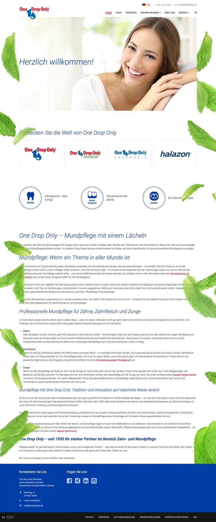 Webdesign für One Drop Only