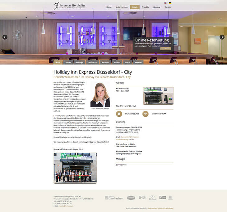 Webdesign für Foremost Hospitality GmbH & Co. KG